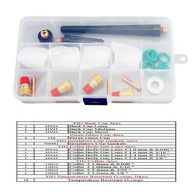£15.30 • Buy 26 Pcs TIG Welding Torch Stubby Gas Lens #10 Pyrex Glass Cup Kit For WP-9/20/25