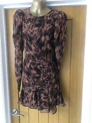 £0.99 • Buy Lipsy From Next Leopard Print Mini Long Sleeved Dress Size 10 Summer Holiday