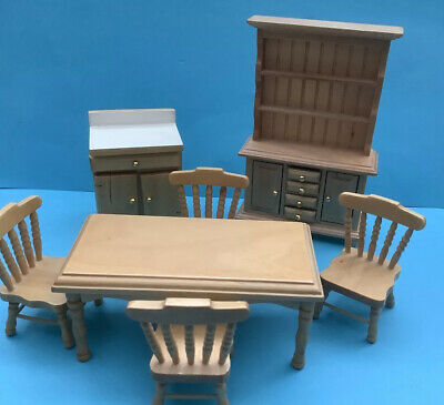 £2.70 • Buy Dolls House Dining Table Chairs Dresser Etc