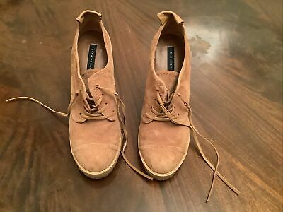 £9.99 • Buy Tan Brown High Wedge Suede Shoes From Zara Size 39 Or UK 6 - VGC