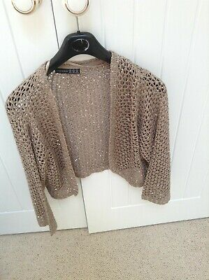 £5 • Buy Taupe Open Knit Sequined Shrug 3/4 Sleeve. Atmosphere Size 20