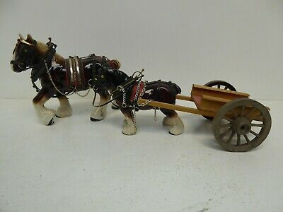 £9.50 • Buy 2 Shire Horse Ornaments And Cart C15