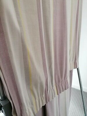 £14.99 • Buy Pair Laura Ashley Curtains Awning Stripe Camomile & Grape W86  D86  Pencil Pleat