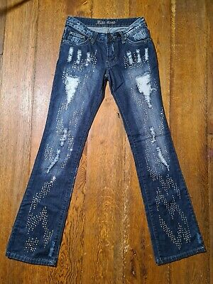 £9.50 • Buy Miss Coco Y2K Sequin Distressed Blue Denim Low Rise Jeans Teen 28W33L