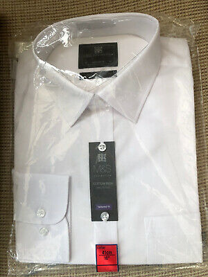 """£6.70 • Buy Mens Bnwt M&s Collection Tailored Fit White Longsleeve Shirt Collar 16"""" 41cm"""