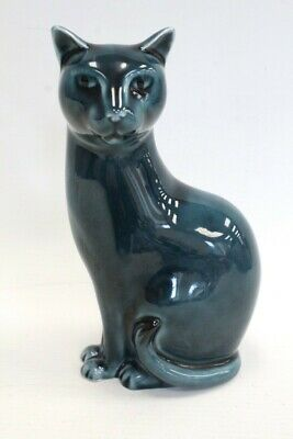 £7.50 • Buy POOLE POTTERY Teal Blue Cat Ornament - F05