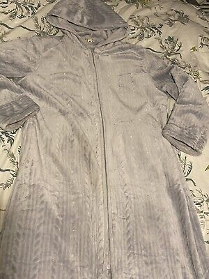 £5.50 • Buy Grey Long Hooded Velour Dressing Gown Size L Hardly Worn