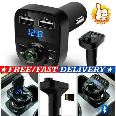 £3.29 • Buy Wireless Bluetooth Handsfree Car Kit FM Transmitter MP3 Player Dual  USB Charger