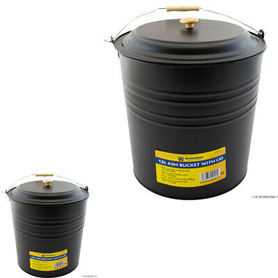 £7.99 • Buy New 12l Metal Ash Bucket With Lid Wooden Handle Fireplace Stove Litre Coal Home