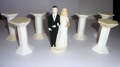 £4.99 • Buy Set  Of  Vintage 1956 Wedding Cake Supports + Bride And Groom Figure: Walsall