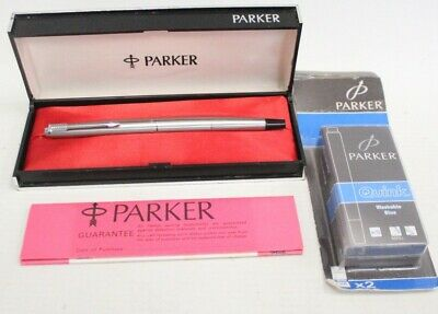 £9.99 • Buy PARKER BRAND Silver Tone Cased FOUNTAIN PEN W/ Spares Ink Cartridges - M25