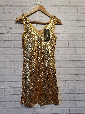 £3.90 • Buy Pussycat London Gold Sequined Bodycon Dress Size 10 BNWT