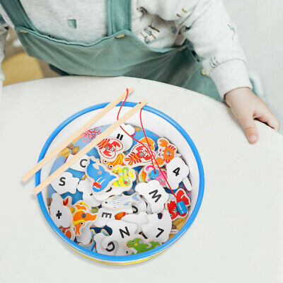 £9.59 • Buy Toddler Wooden Magnetic Fishing Rods Game Toy For 2 3 4 5 Year Old Kids Gift