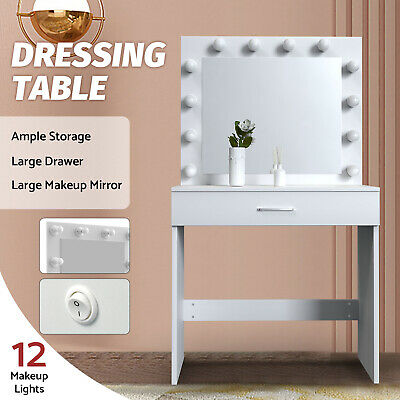AU169.90 • Buy 12 LED Bulbs Dressing Table Makeup Mirror Jewellery Organizer Cabinet White