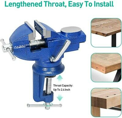 £15.99 • Buy 60mm Multi-functional Clamp-on Work Bench Vise 360° Swivel Table Vice With Anvil