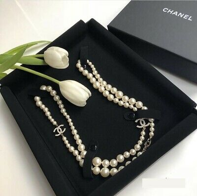 £1400 • Buy Authentic Chanel Pearl Embellished Long Pearl  Necklace Silver