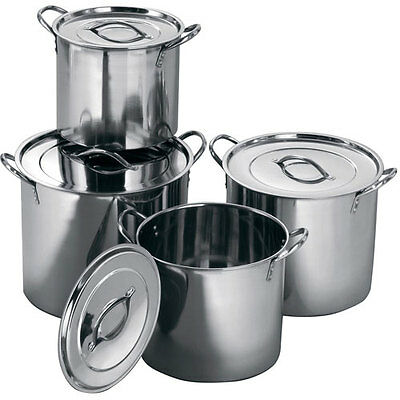 £42.99 • Buy 4 Pc Stainless Steel Large Catering Cooking Stock Pot Pans With Handles & Lids