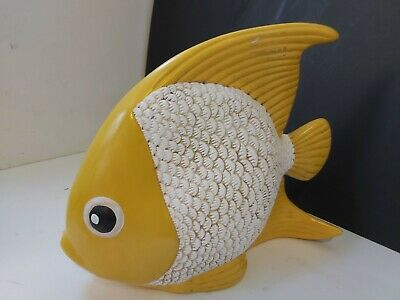 £5.95 • Buy Large Novelty Yellow & White Hand Painted Ceramic Tropical Fish Ornament D36