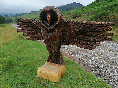 £300 • Buy New... Huge Chainsaw Carving. Unique Owl Carved Sculpture With Wide Spread Wings