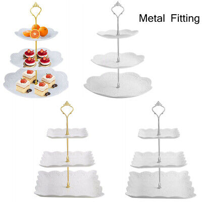 £5.98 • Buy Cake Stand Afternoon Tea Wedding Plates Party Decorating Tableware Embossed Tray
