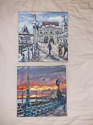 £40 • Buy Hand Painted Scenes Of Brighton Pier, Set Of Two 20cm×20cm Canvases, Signed