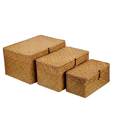 £27.99 • Buy Woven Wicker Storage Bins Basket Sets For Shelves, Set Of 3 Different Sizes T1M9