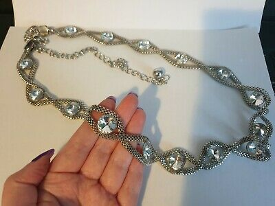 £4 • Buy Silver Colour Chain Jewellery Belt Or Large Statement Necklace With White Stones