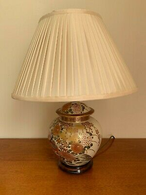 £2.20 • Buy Beautiful Lamp With Chinese Inspired Patterned Base And Silk Lampshade