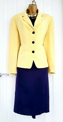 £29.65 • Buy JACQUES VERT Size 14 Navy Pencil Dress And Yellow Jacket Outfit Smart Occasion
