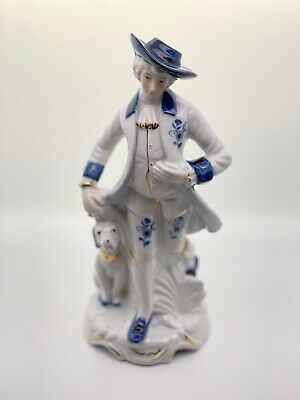 £3.99 • Buy Porcelain Figurine Blue And White With Man Standing With Dog.