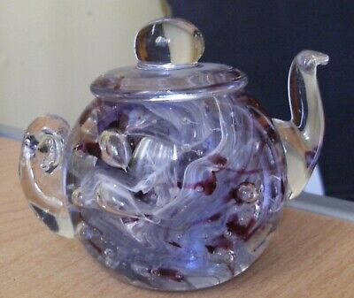 £5.25 • Buy  Abc Glass Teapot Paperweight Clear Purple Lilac And White Colours & Bubbles