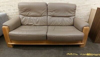 £220 • Buy Scandinavian Style Cream Leather Wood Accented 2 Seater Sofa - CIS B74