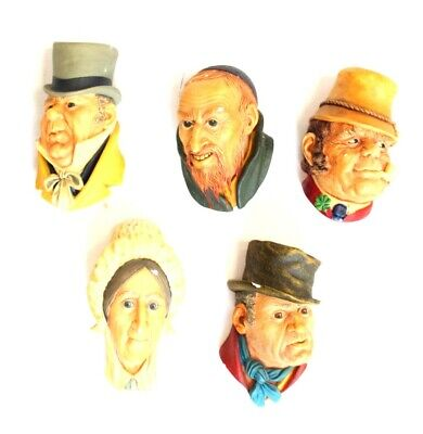 £9.99 • Buy 5x Vtg 1964 BOSSONS ENGLAND Character Heads Hanging Wall Ornaments - G23