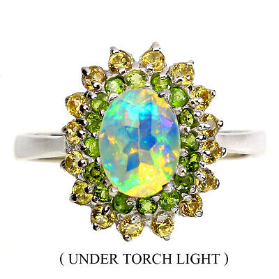 £0.72 • Buy Unheated Oval Fire Opal 8x6mm Chrome Diopside Gems 925 Sterling Silver Ring 8