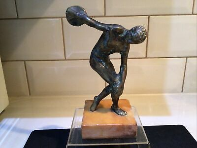 """£16.50 • Buy Vintage/Antique Brass """"Grand Tour""""Greek Statue/ Figure Discus Thrower Olympian"""