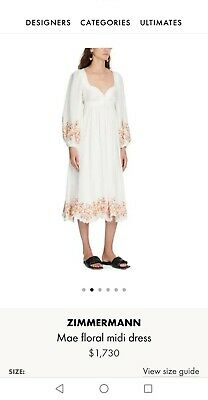 AU500 • Buy Zimmerman Linen Floral Embroidery Midi  Dress(Brand New)