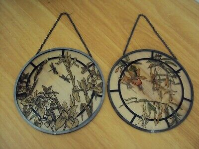 £27 • Buy 2 Vintage Stained Glass Hanging Window Roundels With Lead Frames