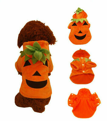 £11.06 • Buy Pet Dog Halloween Orange Pumpkin Outfit Costume Puppy Cat Hooded Clothes T-shirt
