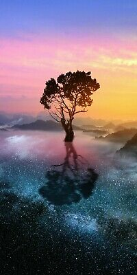 £36.99 • Buy Abstract Sunset Tree Starry Space Landscape Wall Art Picture Large Print