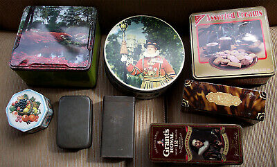 £3.99 • Buy Collection Of 8 Vintage Collectable Tins - C.W.S. Huntley Palmers Rowntree Etc.