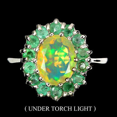 £0.76 • Buy Unheated Oval Fire Opal 9x7mm Emerald 925 Sterling Silver Ring Size 7