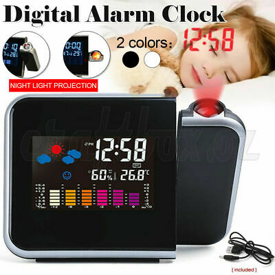 AU14.82 • Buy LED Digital Alarm Clock Smart Projection Temperature Time Projector LCD Display