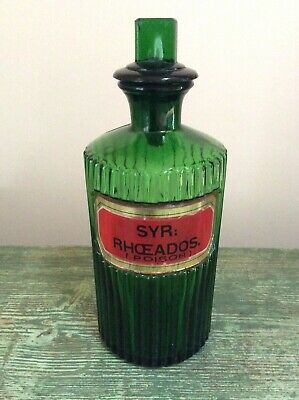 £45 • Buy Antique Ribbed Green Apothecary Chemist Pharmacy Bottle .syr : Rhoeados . U.g.l