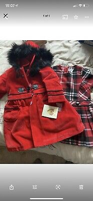 £49.99 • Buy BNWT Couché Tot Tartan Pleated Dress And Matching Velvet Effect Coat. Age 3-4