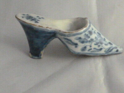 £45 • Buy Antique Early Continental Blue White Pottery Shoe French Faience / Delft ? 4.5