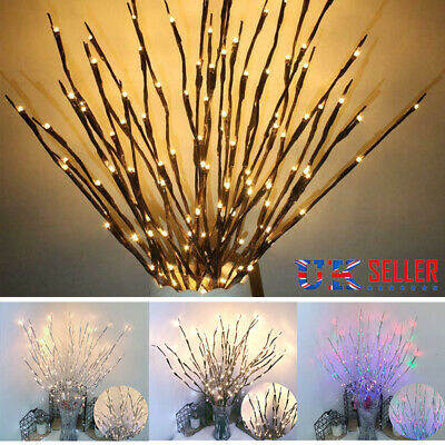 £4.65 • Buy 20 LED Branch Twig Lights Light Up Willow Tree Branches Christmas Decor 77cm HOT
