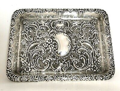 £295 • Buy Antique Sterling Silver Repousse Dressing Table Tray Dish Platter 1903