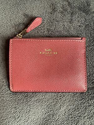 £19.50 • Buy Coach Pink Zipped Keychain Wristlet Coin Purse / ID  Credit Card Holder 💗