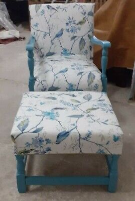 £12 • Buy Hand Hand Upholstered Victorian Chair And Footstool.