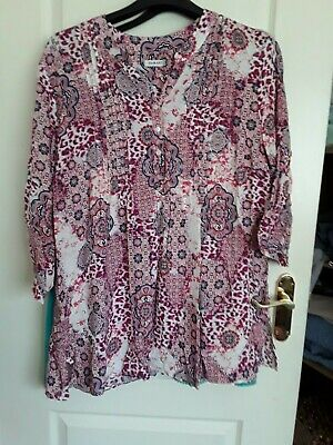 £5.99 • Buy Used. Damart Red Floral Tunic Top Size 22